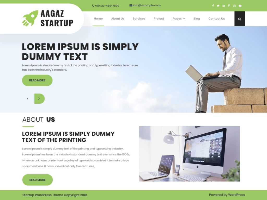 Aagaz Startup WordPress Theme